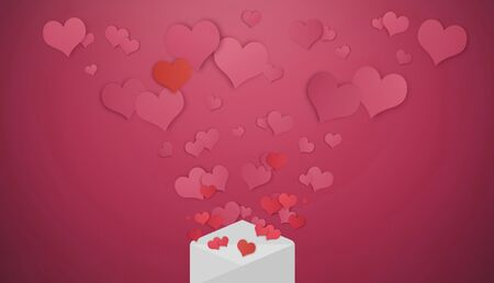 Hearts floating out from opened latter. Valentines day, Valentine card and love letter concept Stock Photo