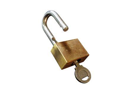 白い背景に隔離されたキー付き南京錠 写真素材