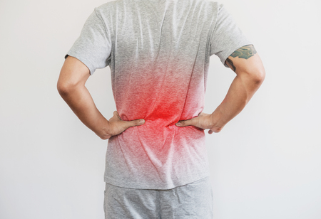 a man touching back, with red highlight concept of back pain, backache and waist pain, on white background