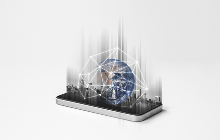 Mobile phone network, communication and global networking technology. Element of this image are furnished by NASA Stock Photo