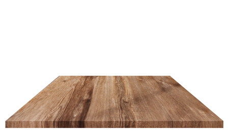 Wood table top for background, isolated on white background Standard-Bild