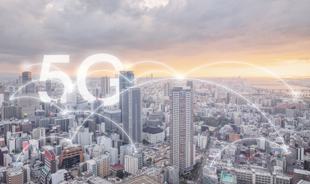 5G internet networking in the city sunrise, cityscape and connections links