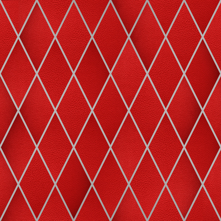 Red leather in rhombus pattern, Seamless wallpaper texture pattern background