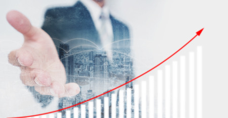 Business investor extending hand, showing increasing financial graph. Business growth and investment