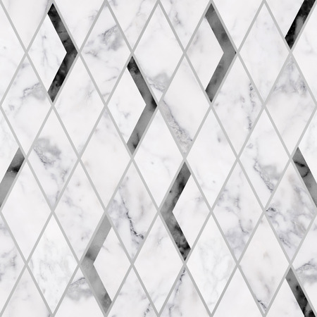 Seamless luxury rhombus marble stone texture pattern, Luxury black and white marble stone texture background Reklamní fotografie