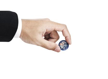 Hand holding globe, isolated on white background. 版權商用圖片