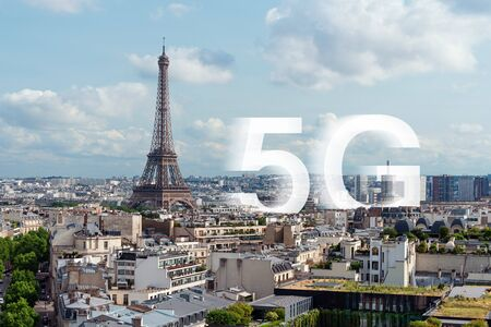 5G high speed internet in Europe. Eiffel tower, famous landmark and travel destination in Paris, France Stock Photo