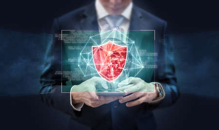 Business online data security, internet network security system and AI artificial intelligence technology.