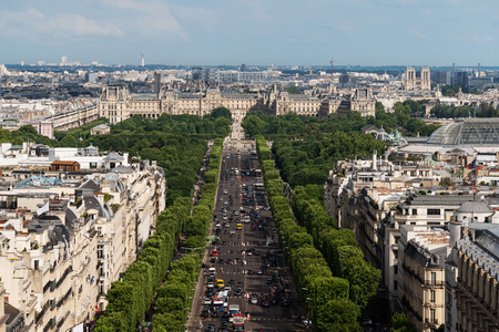 Landscape of Paris city in France with Champs Elysees street in summer Editorial