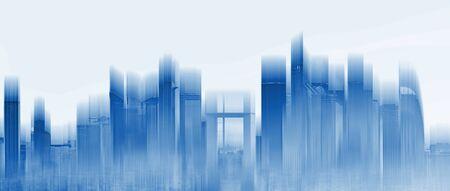 Gratte-ciel futuriste construisant des toits de la ville, avec une lumière bleue éclatante