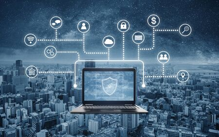 Internet and online network and cyber data security system technology Stock Photo