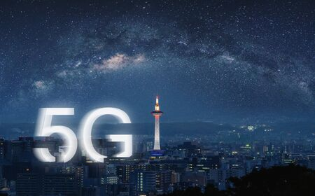 5G wireless internet technology in the city, Kyoto city at night