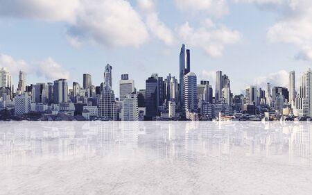Panoramablick auf die Stadt mit leerem Betonboden Standard-Bild