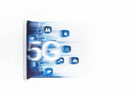 5G wireless high speed internet network on mobile smart phone and application technology