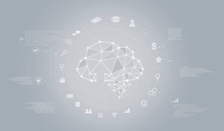 Cloud computing and Cloud data storage technology icon graphic