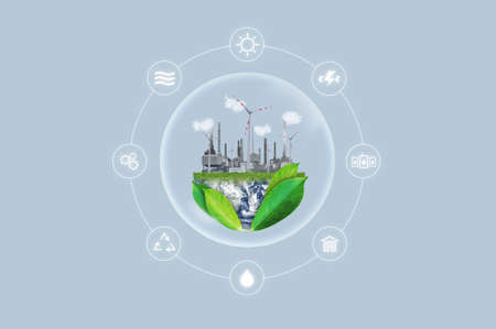 Clean energy, eco-friendly industrial and natural resources concept. Imagens