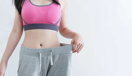 Dieting and weight loss concept, Woman with slim and healthy body