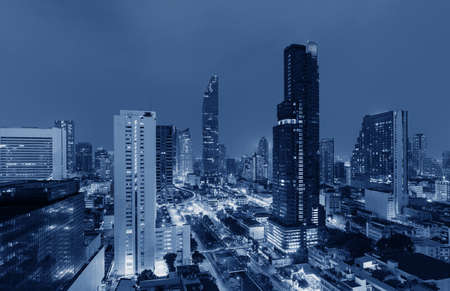 Futuristic blue cityscape. Bangkok city background
