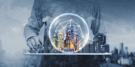 Networking technology, internet of things, buildings technology and smart city 版權商用圖片