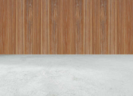 Concrete cement floor with wood wall. Texture Background