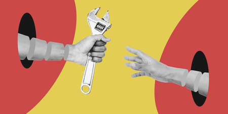 Digital collage modern art, Hand reaching and hand over wrench