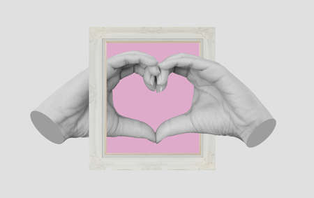 Digital collage modern art, Hands making Heart symbol, with retro picture frame