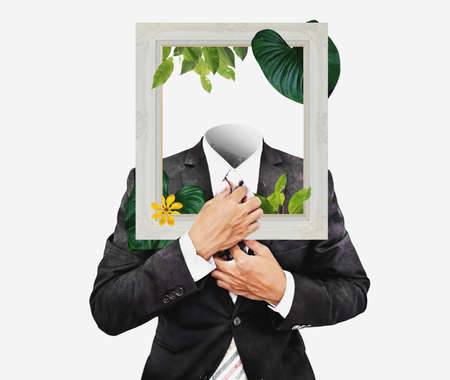 Businessman in black suit with picture frame, and flowers with leaves. Digital collage modern art