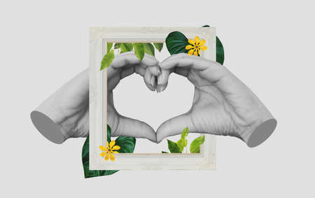 Digital collage modern art, Hands making Heart symbol, with retro picture frame and tropical leaves and flower