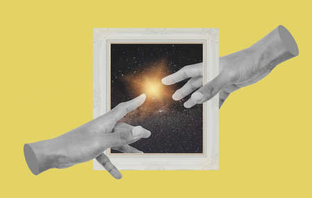 Digital collage modern art. Hands reaching with picture frame 版權商用圖片