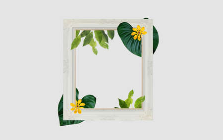 Retro picture frame with plants and flowers