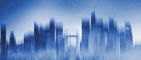 Silhouette skyscraper city skyline. Abstract city background 版權商用圖片