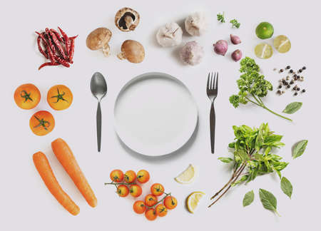 Healthy food ingredient, with empty dish, on white background