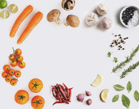 Healthy food ingredient, on white background with copy space