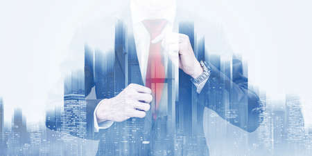Double exposure businessman, and futuristic city background 版權商用圖片