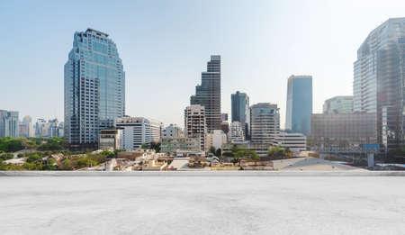 Bangkok city view, with concrete cement floor on roof top 版權商用圖片