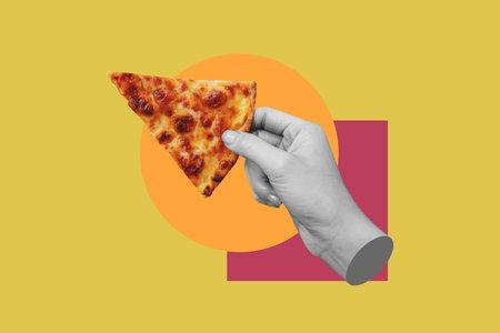 Digital collage modern art. Hand holding slice of cheese pizza 版權商用圖片