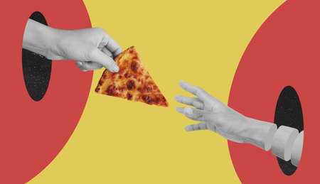 Hand giving slice of cheese pizza, and reaching hand, on red and yellow background 版權商用圖片