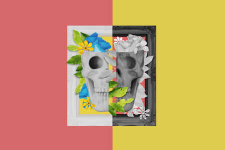 Digital collage modern art, Black and white skull, with leaves and flower