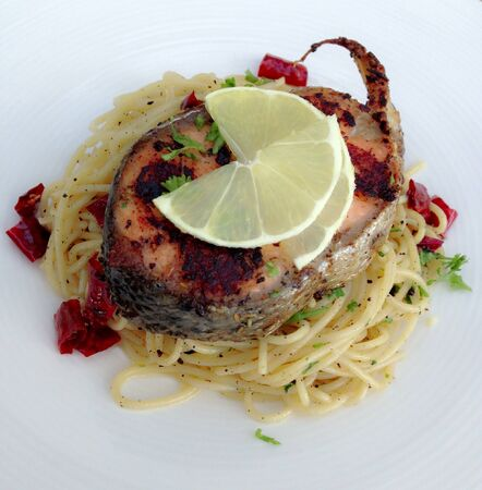 stake: Stake salmon with spaghetti