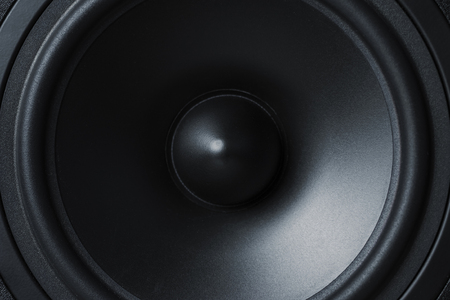 Close up of membrane sound speaker on black background Stock Photo