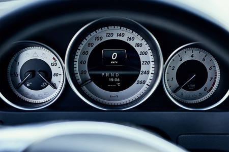 Modern car dashboard front view, close up