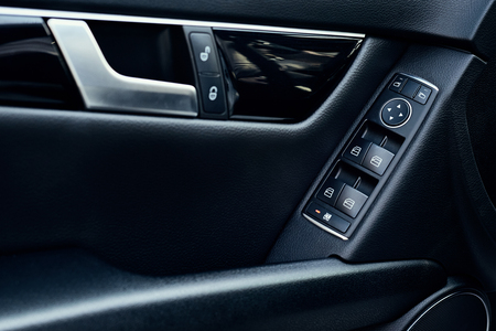 Automatic control panel of car windows, close up Banque d'images