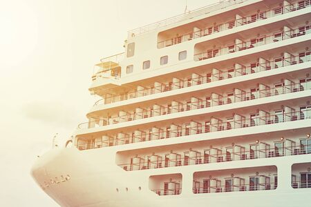 Close up of cruise ship liner docked in port Фото со стока