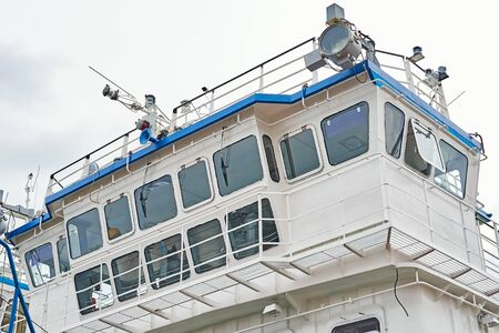 Captain cabins on cruise ship liner docked in port
