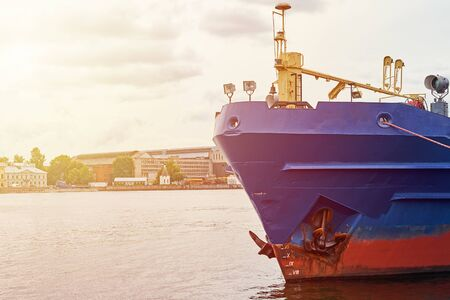 Close up of cargo ship in port Stock Photo
