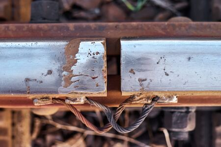 Clearance at railway junction closeup. Rail Safety
