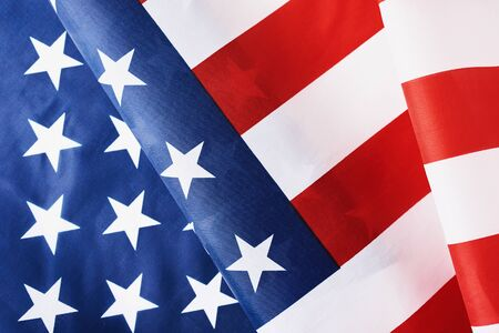 USA american national waving flag as background, close up