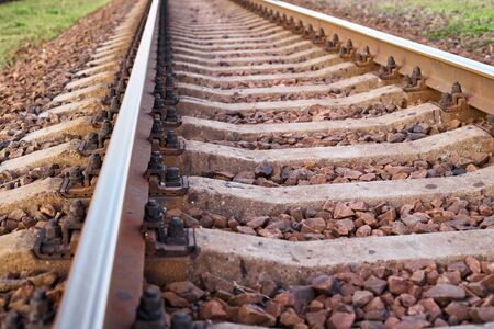 Close up railway track. Part of railroad