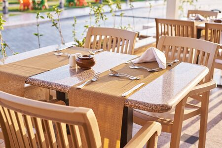 Empty terrace with table and chairs outdoor