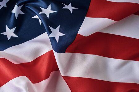 American flag background. USA flag waving, close up